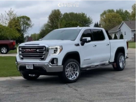 """2019 GMC Sierra 1500 Aggressive > 1"""" outside fender on 22x12 -44 offset TIS 544c and 33""""x12.5"""" Fury Offroad Country Hunter M/t on Suspension Lift 3"""" - Custom Offsets Gallery"""
