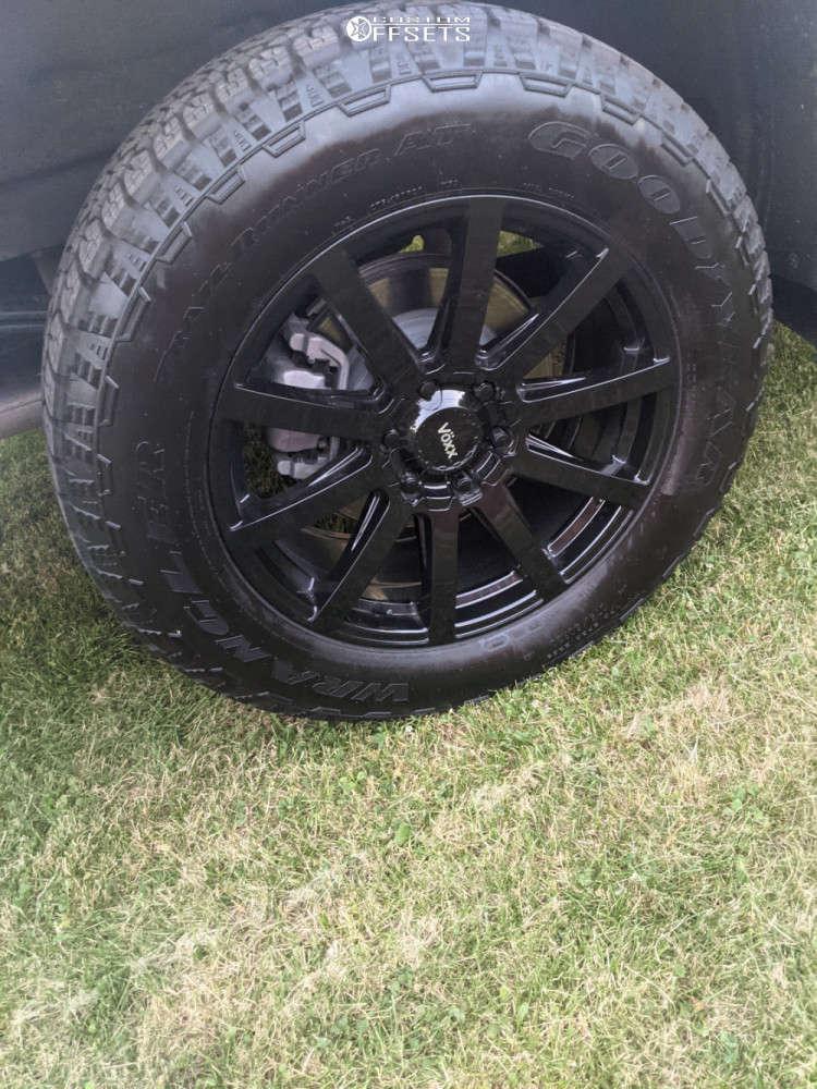 "2020 Chevrolet Silverado 1500 Aggressive > 1"" outside fender on 20x9 30 offset Voxx Vento and 275/65 Wrangler Trailrunner on Stock Suspension - Custom Offsets Gallery"