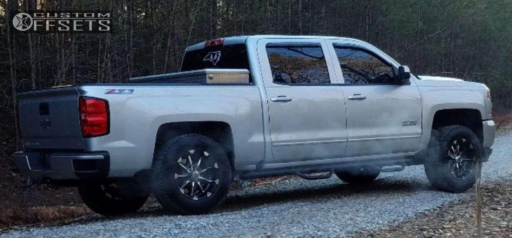 "2016 Chevrolet Silverado 1500 Aggressive > 1"" outside fender on 18x9 -12 offset XD Badlands & 275/70 Cooper Discoverer At3 on Leveling Kit - Custom Offsets Gallery"