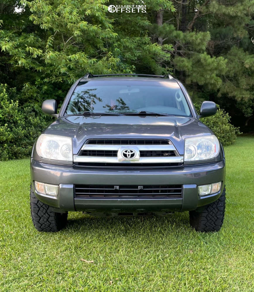 """2005 Toyota 4Runner Aggressive > 1"""" outside fender on 17x8.5 0 offset Icon Rebound and 265/65 Goodyear Wrangler Duratrac on Stock Suspension - Custom Offsets Gallery"""