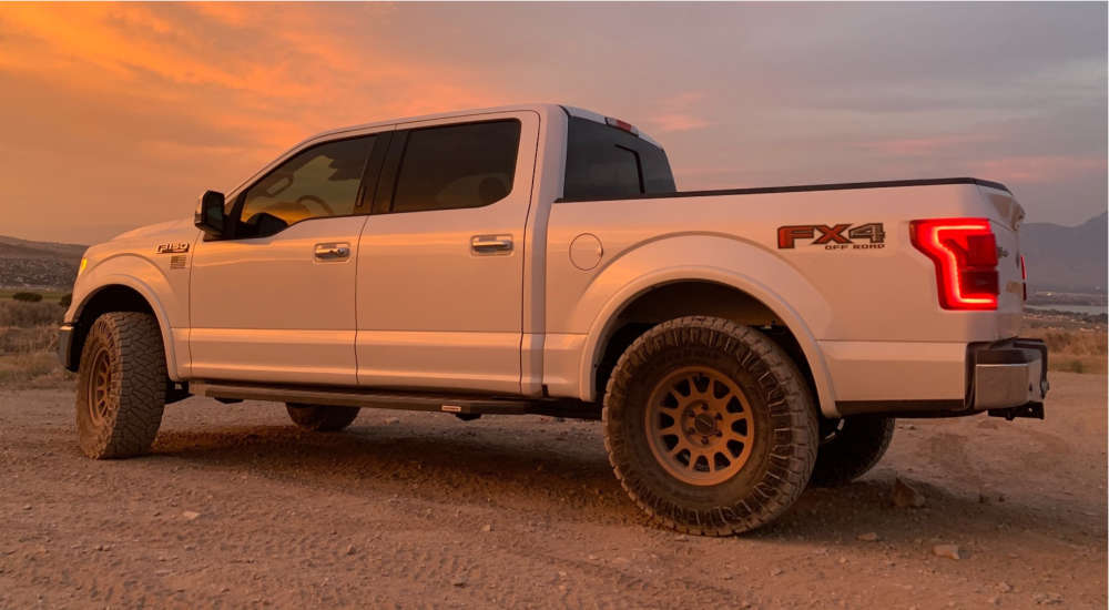 """2015 Ford F-150 Slightly Aggressive on 17x8.5 0 offset Method Mr703 & 35""""x12.5"""" Nitto Ridge Grapplers on Leveling Kit - Custom Offsets Gallery"""