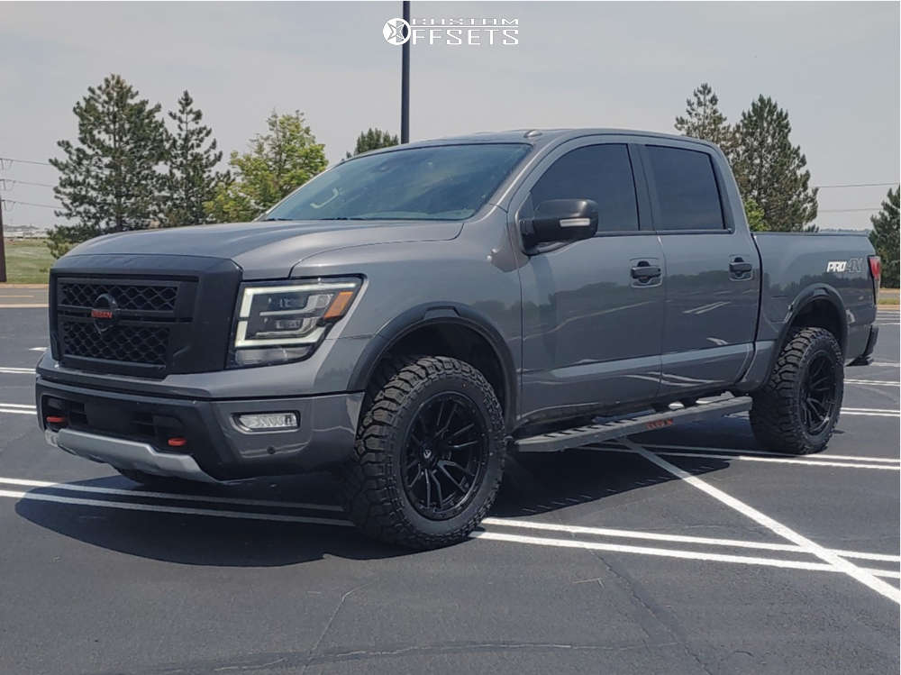 """2020 Nissan Titan Aggressive > 1"""" outside fender on 20x10 -18 offset Fuel Rebel and 33""""x12.5"""" Kenda Klever R/t on Stock Suspension - Custom Offsets Gallery"""