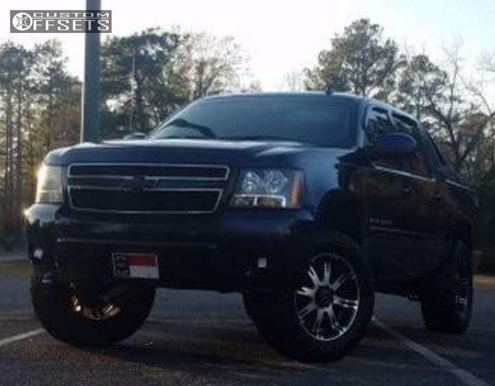"""2007 Chevrolet Avalanche Aggressive > 1"""" outside fender on 20x9 0 offset American Racing Ar708 & 33""""x12.5"""" Atturo Trail Blade Mt on Leveling Kit - Custom Offsets Gallery"""