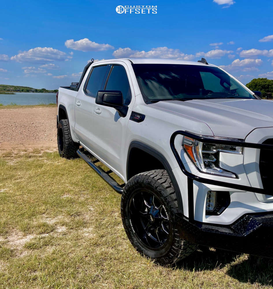 """2021 GMC Sierra 1500 Aggressive > 1"""" outside fender on 20x10 -18 offset Moto Metal Mo970 and 295/55 Nitto Ridge Grappler on Suspension Lift 4"""" - Custom Offsets Gallery"""