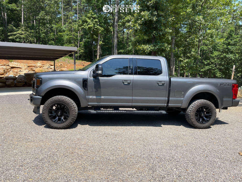 """2021 Ford F-250 Super Duty Aggressive > 1"""" outside fender on 20x10 -26 offset Ultra Scorpion and 35""""x12.5"""" Nitto Ridge Grappler on Air Suspension - Custom Offsets Gallery"""