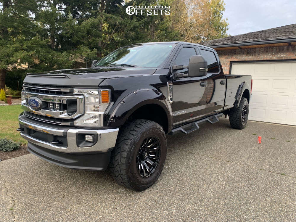 """2020 Ford F-250 Super Duty Slightly Aggressive on 20x12 -44 offset Fuel 513 and 37""""x12.5"""" Toyo Tires Open Country R/t on Suspension Lift 6"""" - Custom Offsets Gallery"""