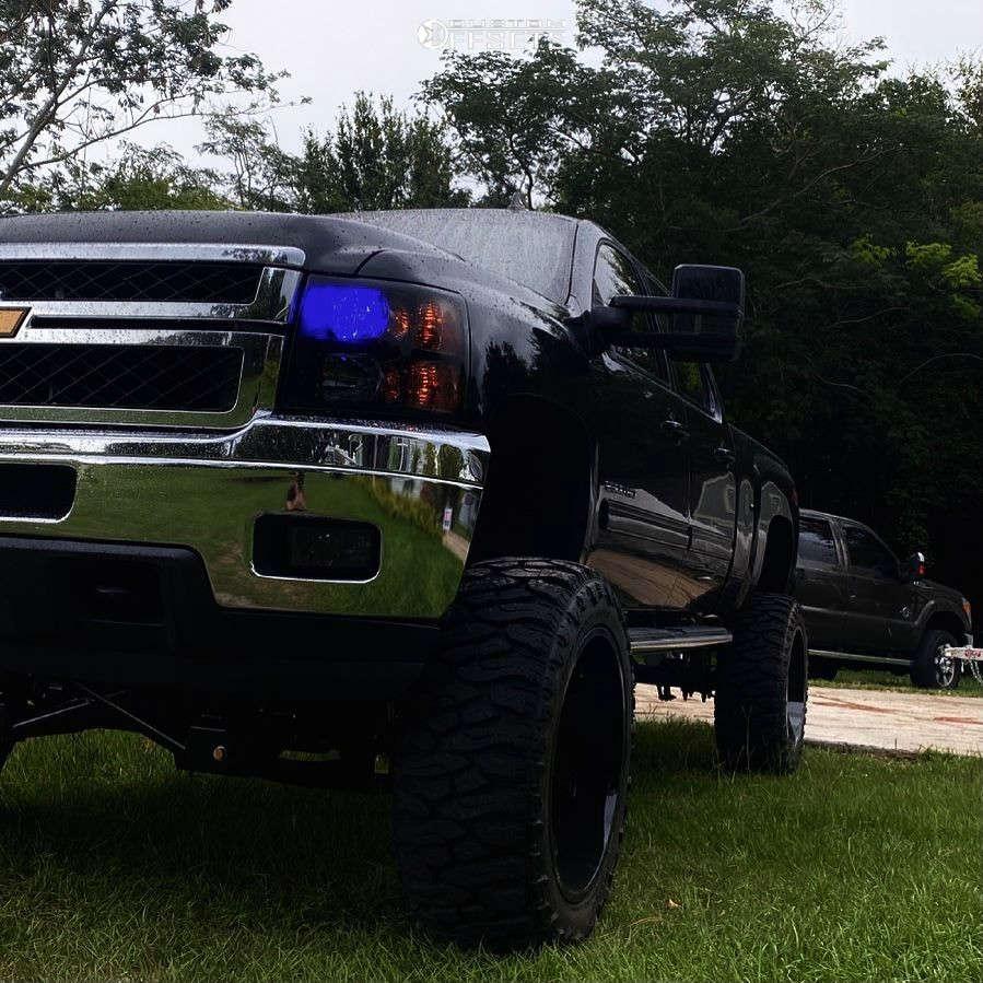 "2013 Chevrolet Silverado 2500 HD Aggressive > 1"" outside fender on 24x12 -51 offset ARKON OFF-ROAD Lincoln & 38""x13.5"" Atturo Trail Blade Boss on Suspension Lift 10"" - Custom Offsets Gallery"