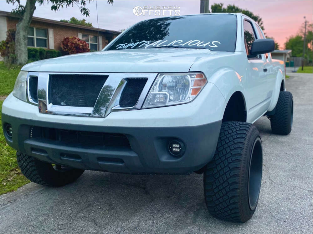 """2014 Nissan Frontier Hella Stance >5"""" on 20x12 51 offset Toxic Widow and 265/50 Atturo Trail Blade Xt on Suspension Lift 6"""" - Custom Offsets Gallery"""
