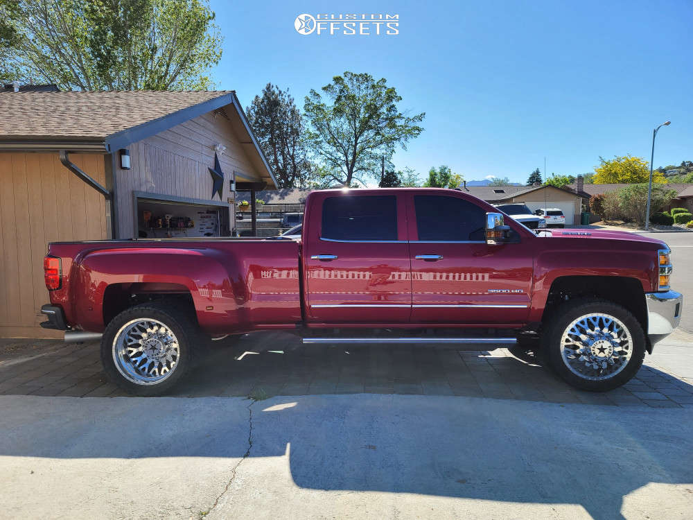 """2019 Chevrolet Silverado 3500 HD Aggressive > 1"""" outside fender on 24x8.5 0 offset American Force Evo Ss & 35""""x8.5"""" Nitto Ridge Grapplers on Leveling Kit - Custom Offsets Gallery"""