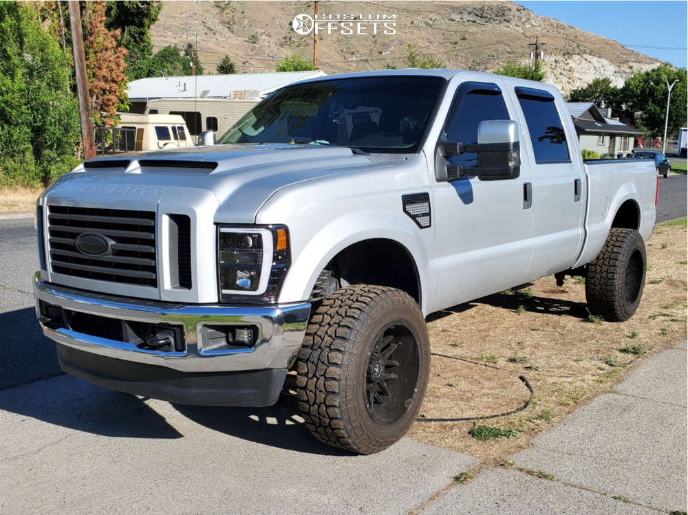 """2008 Ford F-250 Super Duty Aggressive > 1"""" outside fender on 20x12 -44 offset Motiv Offroad Magnus and 35""""x12.5"""" Federal Xplora Rt on Leveling Kit - Custom Offsets Gallery"""