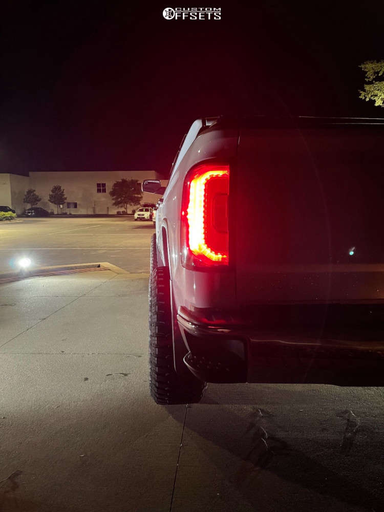 """2017 GMC Sierra 1500 Aggressive > 1"""" outside fender on 22x12 -51 offset ARKON OFF-ROAD Caesar & 33""""x12.5"""" Fury Offroad Country Hunter Rt on Suspension Lift 3.5"""" - Custom Offsets Gallery"""