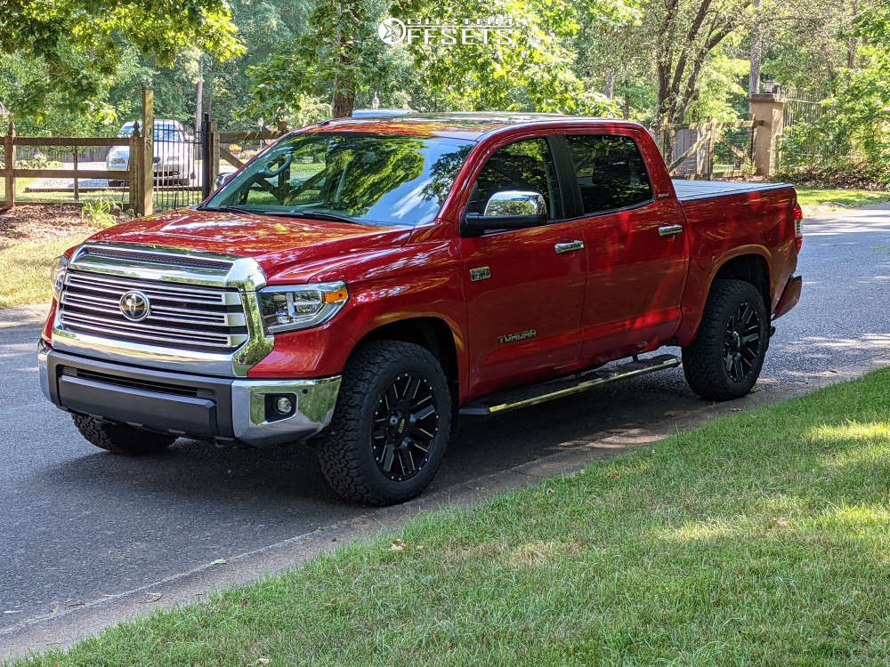 """2019 Toyota Tundra Aggressive > 1"""" outside fender on 20x9 18 offset Moto Metal Mo978 and 275/60 BFG Ko2 on Stock Suspension - Custom Offsets Gallery"""
