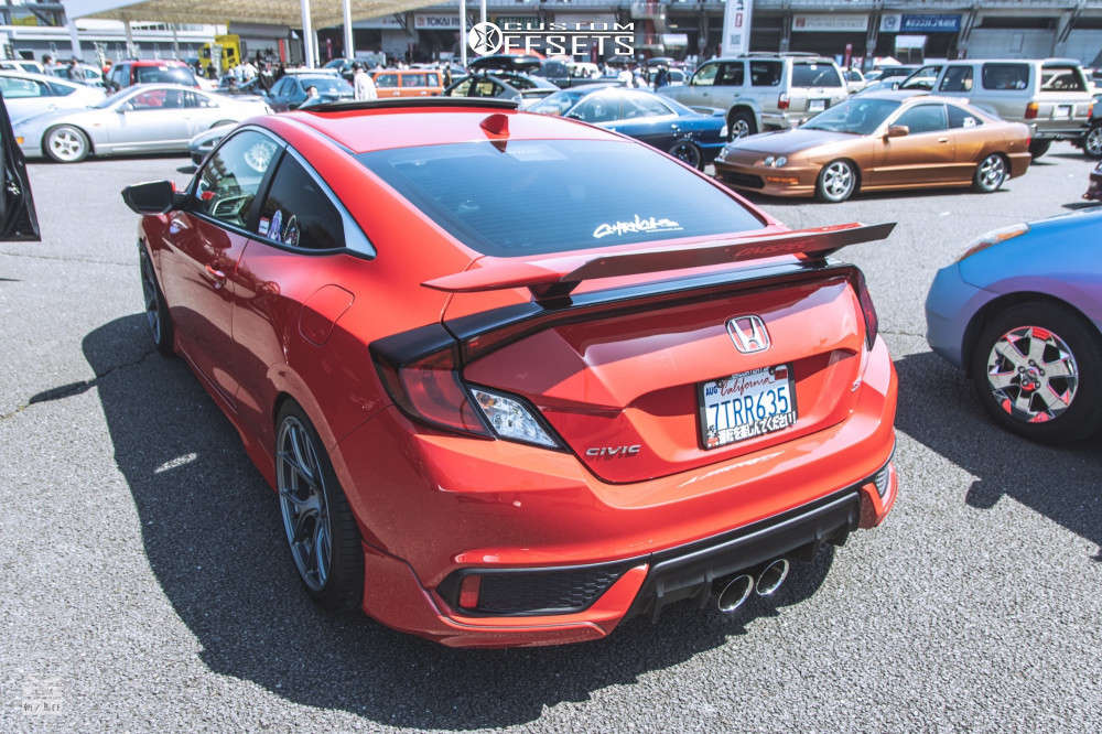 2017 Honda Civic HellaFlush on 18x9.5 40 offset Titan7 Ts-5 & 265/35 Toyo Tires Proxes Sport on Lowering Springs - Custom Offsets Gallery