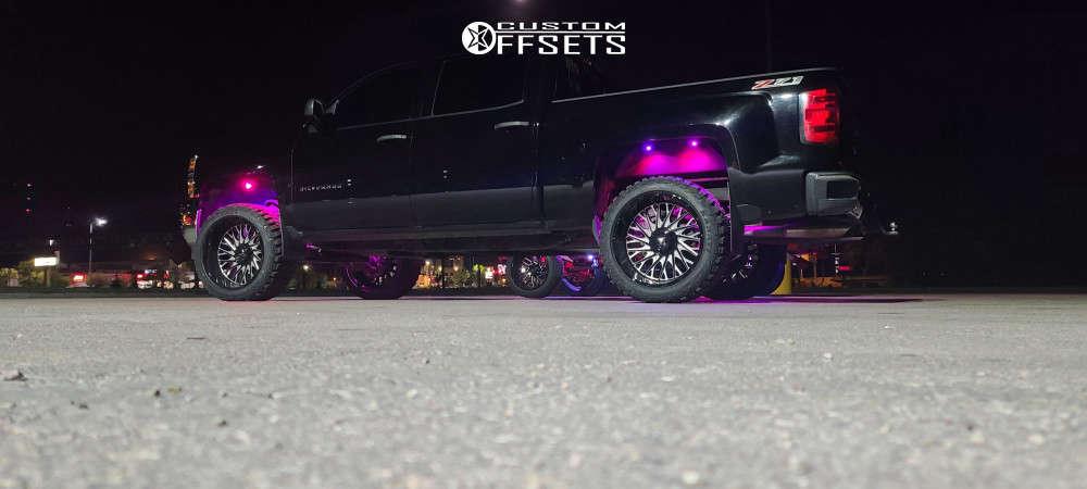 "2014 Chevrolet Silverado 1500 Aggressive > 1"" outside fender on 22x12 -44 offset Fittipaldi Ftc08 & 25""x12.5"" Kanati Mud Hog on Suspension Lift 3"" - Custom Offsets Gallery"
