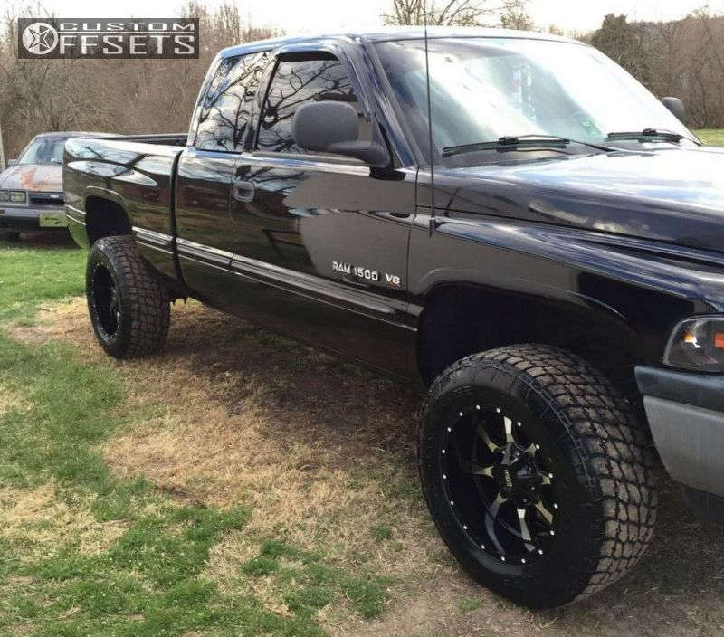 """1999 Dodge Ram 1500 Aggressive > 1"""" outside fender on 18x10 -24 offset Moto Metal MO970 and 285""""x60"""" Nitto Terra Grappler G2 on Stock - Custom Offsets Gallery"""