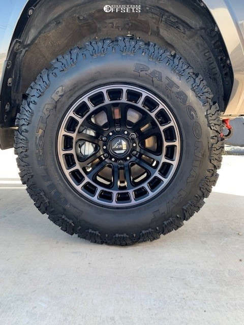 """2021 Toyota 4Runner Aggressive > 1"""" outside fender on 17x9 -12 offset Fuel Heater & 285/70 Milestar Patagonia M/t on Suspension Lift 3"""" - Custom Offsets Gallery"""