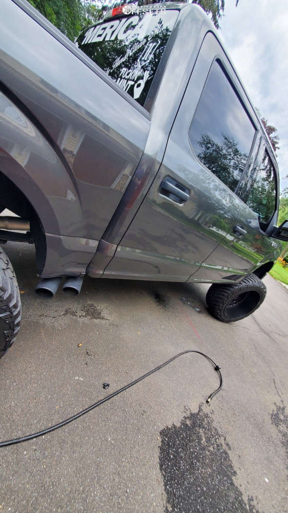 """2018 Ford F-150 Super Aggressive 3""""-5"""" on 24x14 -81 offset ARKON OFF-ROAD Crown Series Triumph & 37""""x13.5"""" AMP Mud Terrain Attack M/t A on Suspension Lift 8"""" - Custom Offsets Gallery"""