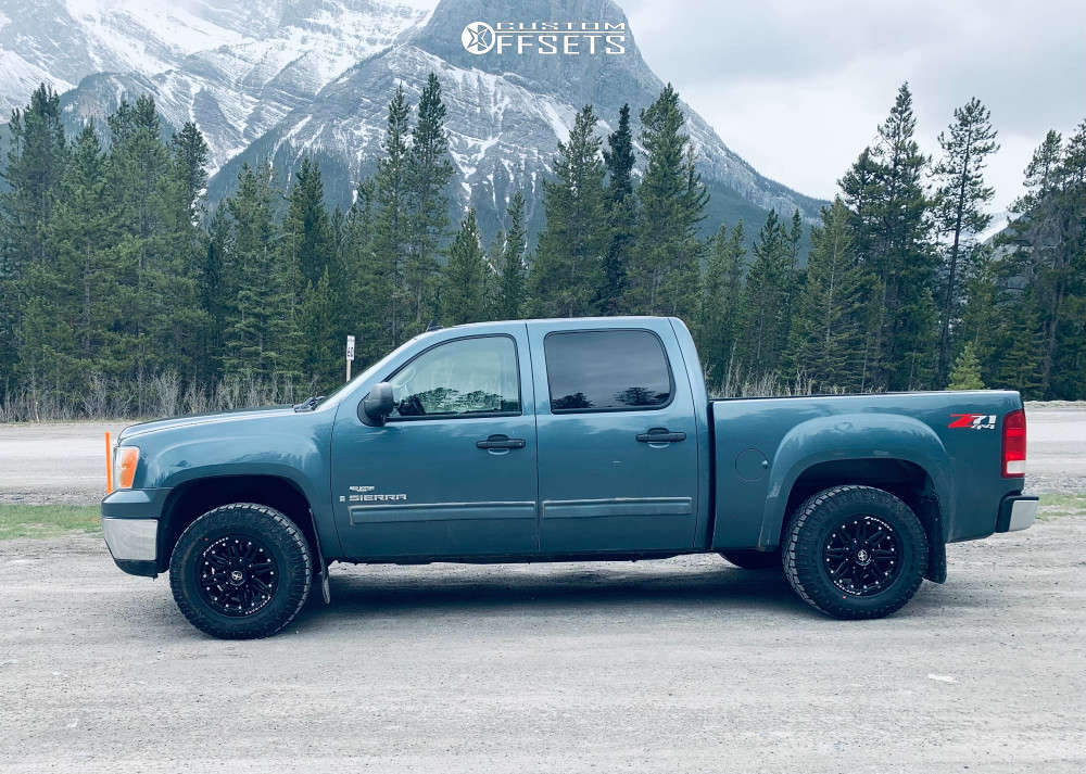 """2008 GMC Sierra 1500 Slightly Aggressive on 17x9 12 offset XF Offroad Xf-204 & 31""""x10.5"""" Goodyear Wrangler Duratrac on Leveling Kit - Custom Offsets Gallery"""