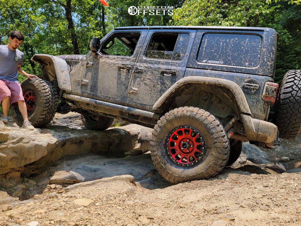 "2018 Jeep Wrangler Aggressive > 1"" outside fender on 17x8.5 0 offset Method Mr305 & 37""x12.5"" General Grabber Grabber X3 on Suspension Lift 3.5"" - Custom Offsets Gallery"