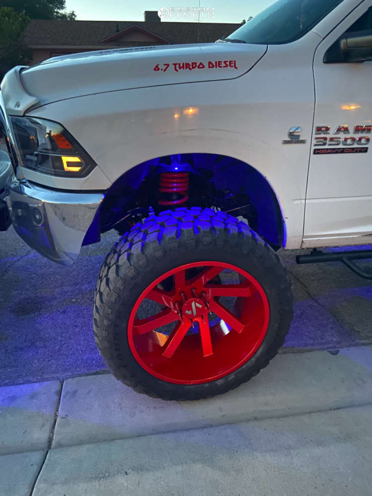 """2012 Ram 2500 Hella Stance >5"""" on 26x14 -81 offset ARKON OFF-ROAD Lincoln & 40""""x15.5"""" Ironman All Country Mt on Suspension Lift 8"""" - Custom Offsets Gallery"""
