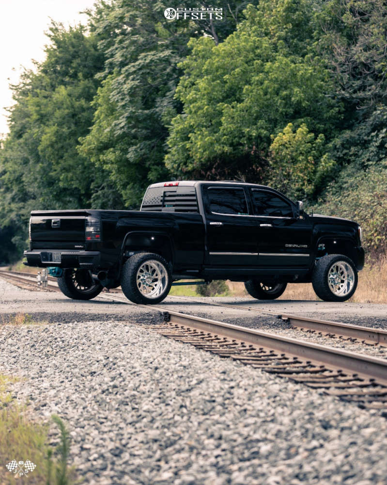 """2015 GMC Sierra 2500 HD Aggressive > 1"""" outside fender on 22x12 -44 offset American Force Lucky Ss & 33""""x12.5"""" Nitto Ridge Grappler on Suspension Lift 3.5"""" - Custom Offsets Gallery"""