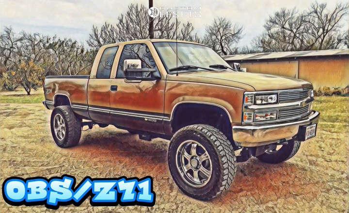 "1996 Chevrolet K1500 Aggressive > 1"" outside fender on 20x9 0 offset V-Tec Assassin & 35""x12.5"" Cooper Discoverer S/t Maxx on Air Suspension - Custom Offsets Gallery"