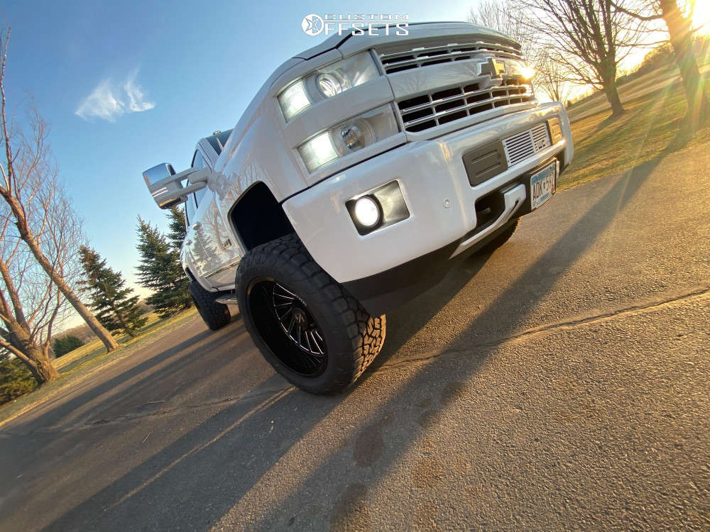 """2018 Chevrolet Silverado 2500 HD Super Aggressive 3""""-5"""" on 22x12 -51 offset ARKON OFF-ROAD Caesar & 35""""x13.5"""" Toyo Tires Open Country A/t Ill on Suspension Lift 4"""" - Custom Offsets Gallery"""