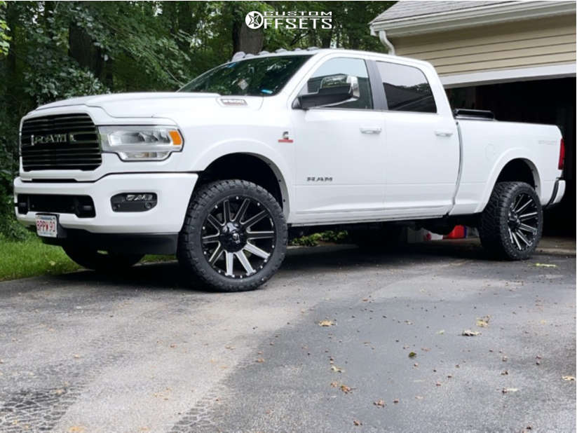 """2021 Ram 2500 Aggressive > 1"""" outside fender on 22x10 -19 offset Fuel Contra & 33""""x12.5"""" Nitto Ridge Grapplers on Stock Suspension - Custom Offsets Gallery"""
