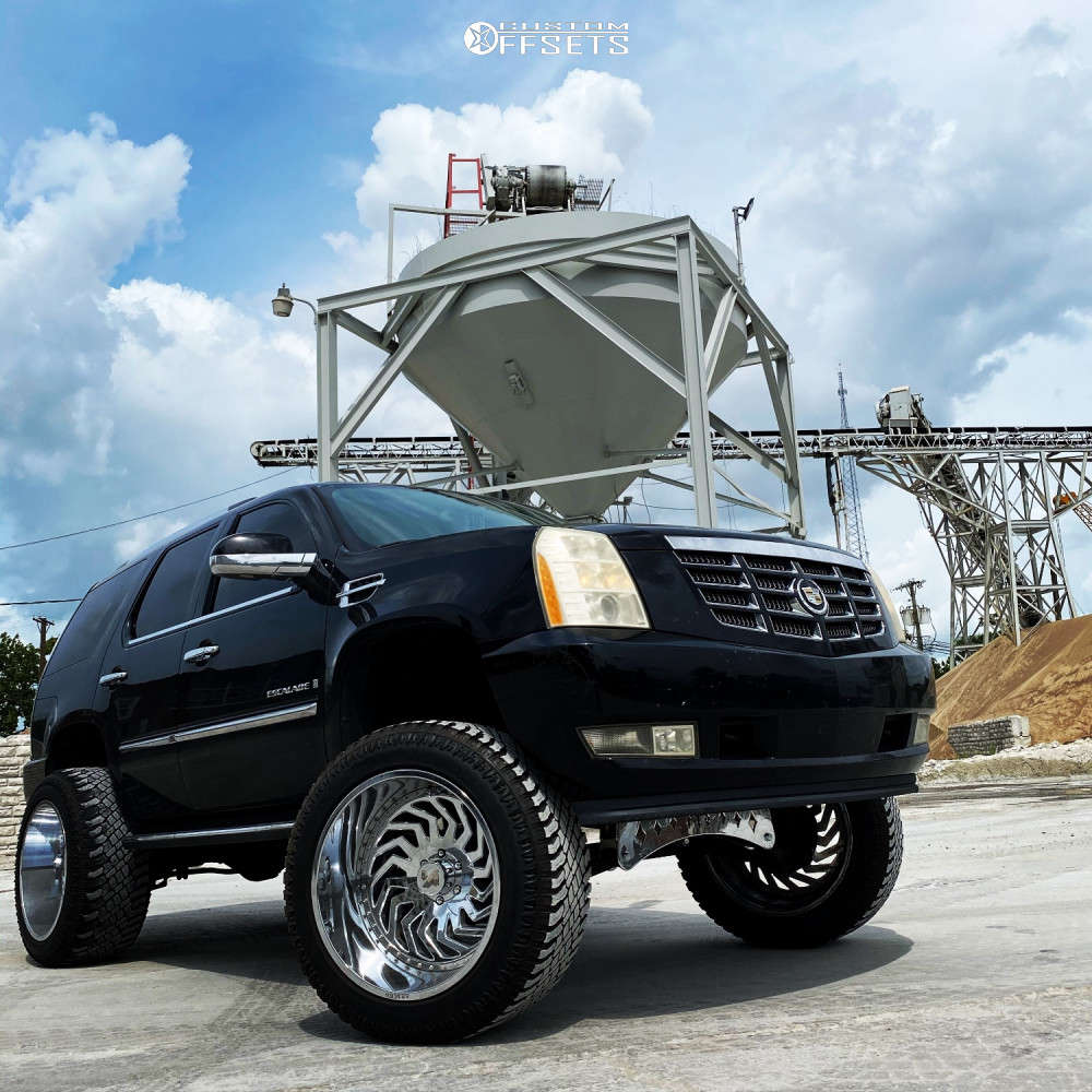 """2007 Cadillac Escalade Aggressive > 1"""" outside fender on 24x14 -144 offset ARKON OFF-ROAD Crown Series Victory & 38""""x13.5"""" Atturo Trail Blade Xt on Suspension Lift 9"""" - Custom Offsets Gallery"""