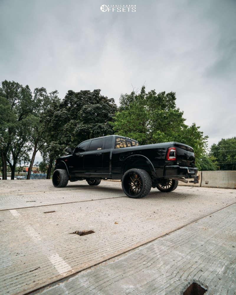 "2019 Ram 2500 Aggressive > 1"" outside fender on 24x14 -81 offset ARKON OFF-ROAD Mandela & 33""x14.5"" Venom Power Terra Hunter X/t on Suspension Lift 3.5"" - Custom Offsets Gallery"