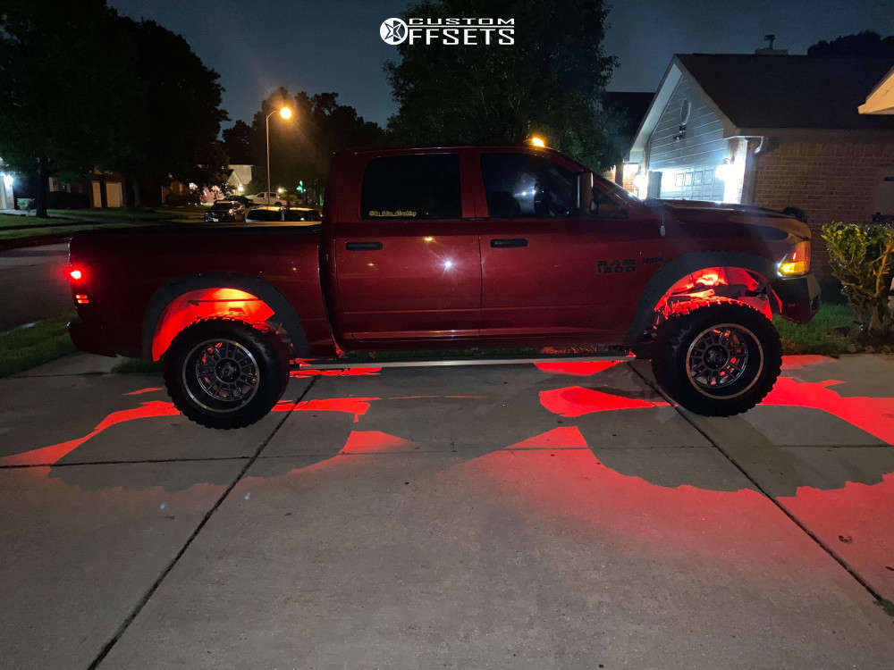 """2013 Ram 1500 Aggressive > 1"""" outside fender on 20x12 -51 offset Vision Widow & 35""""x12.5"""" Ironman All Country Mt on Suspension Lift 4.5"""" - Custom Offsets Gallery"""