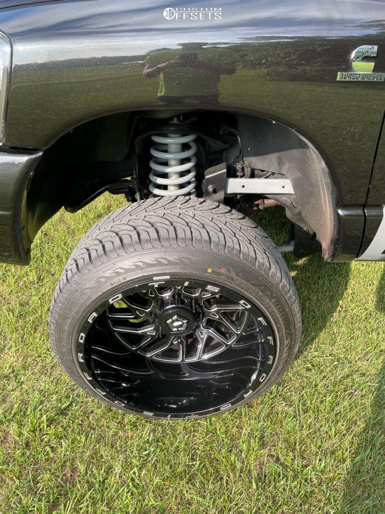 "2007 Dodge Ram 2500 Hella Stance >5"" on 22x14 -76 offset TIS 544bm & 33""x12.5"" Atturo Az800 on Suspension Lift 2.5"" - Custom Offsets Gallery"