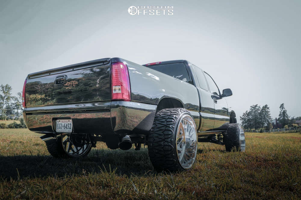 """1999 Chevrolet Silverado 1500 Aggressive > 1"""" outside fender on 26x14 -90 offset American Force Acid Cc & 35""""x13.5"""" Pioneer Pioneer M/t on Suspension Lift 8"""" - Custom Offsets Gallery"""