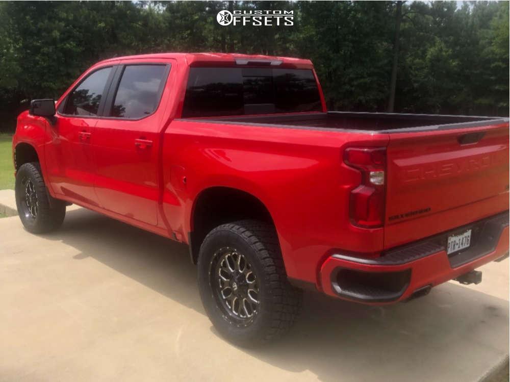 "2021 Chevrolet Silverado 1500 Slightly Aggressive on 20x9 1 offset Fuel Titan & 33""x12.5"" Nitto Terra Grappler G2 on Suspension Lift 4"" - Custom Offsets Gallery"
