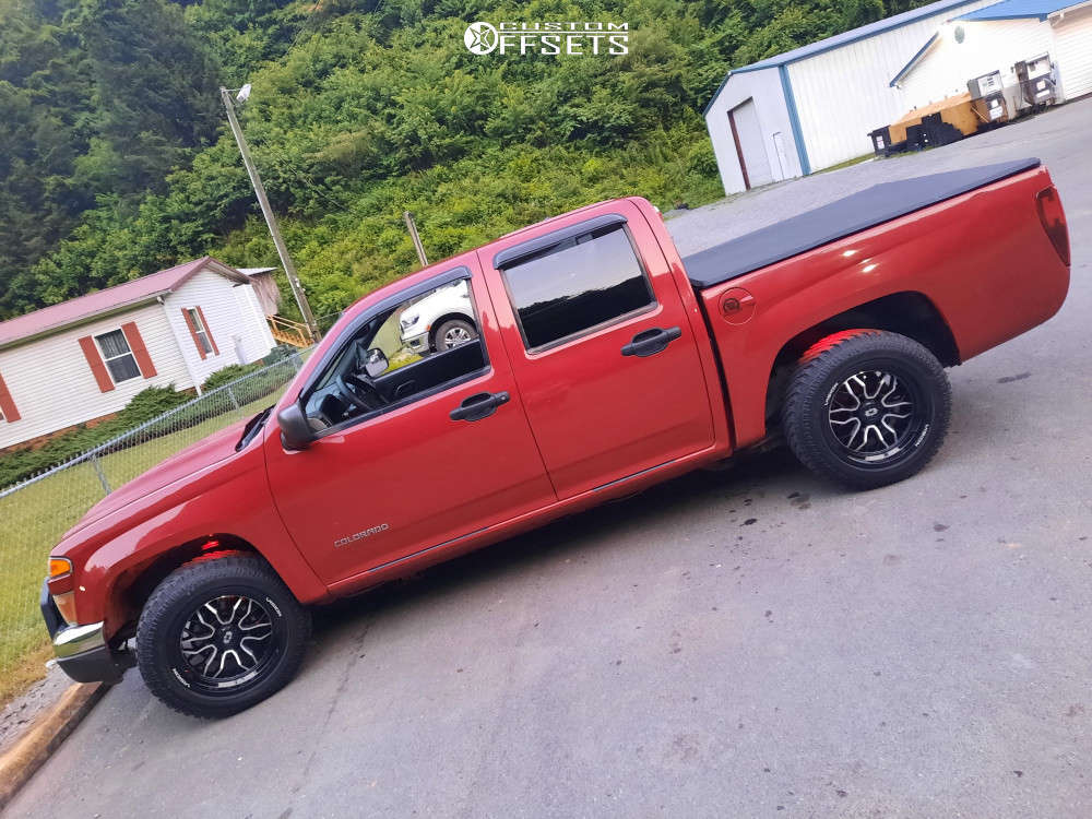 """2004 Chevrolet Colorado Aggressive > 1"""" outside fender on 18x9 -12 offset Vision Riot & 235/60 Atturo Trail Blade Xt on Leveling Kit - Custom Offsets Gallery"""