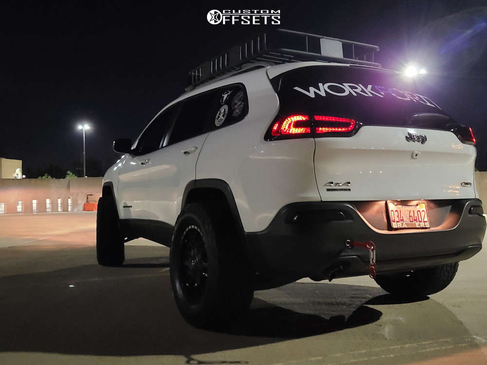 """2016 Jeep Cherokee Super Aggressive 3""""-5"""" on 18x9 -12 offset Fuel Sledge D595 & 32""""x9.5"""" Nitto Terra Grappler G2 on Suspension Lift 2.5"""" - Custom Offsets Gallery"""