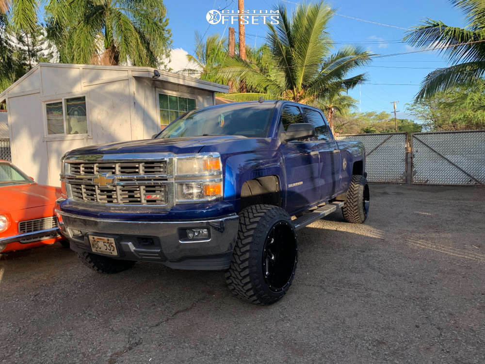 """2014 Chevrolet Silverado 1500 Aggressive > 1"""" outside fender on 22x14 -76 offset Vision Spider & 35""""x12.5"""" Atturo Trail Blade Mts on Suspension Lift 6.5"""" - Custom Offsets Gallery"""