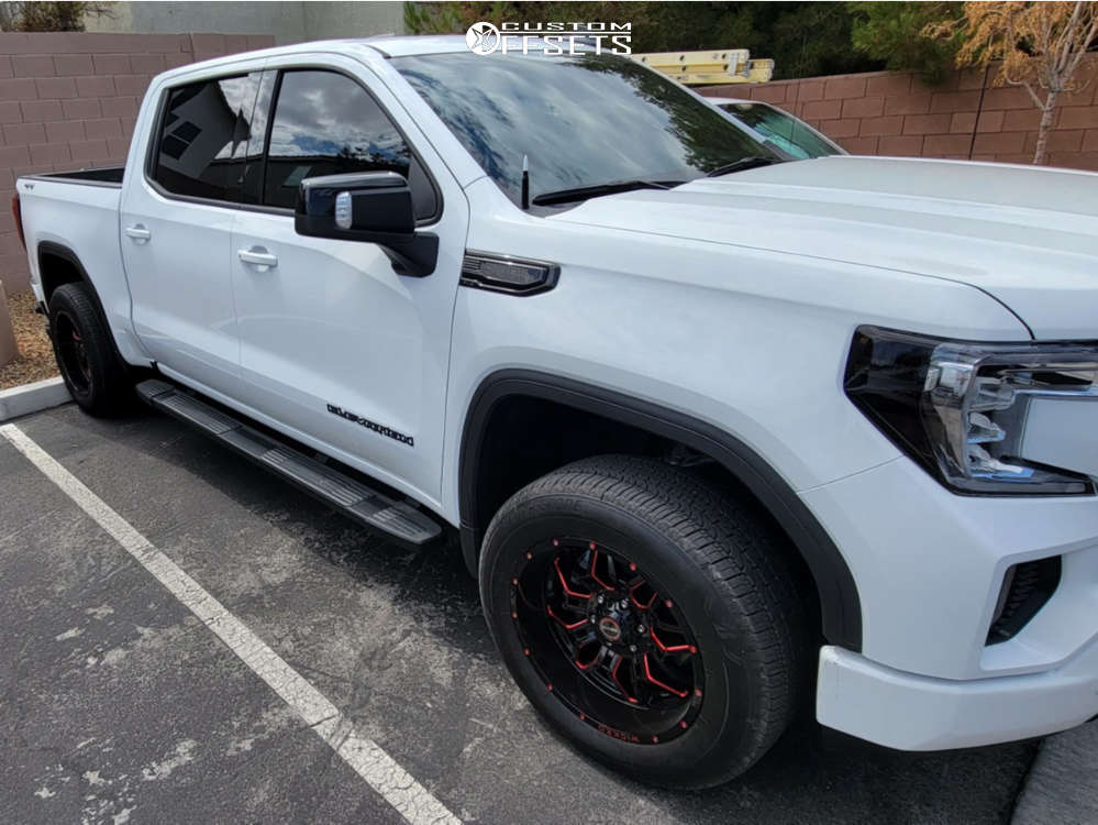 """2021 GMC Sierra 1500 Aggressive > 1"""" outside fender on 20x10 -24 offset Wicked Offroad W903 and 33""""x10.5"""" Bridgestone Alenza 001 on Leveling Kit - Custom Offsets Gallery"""