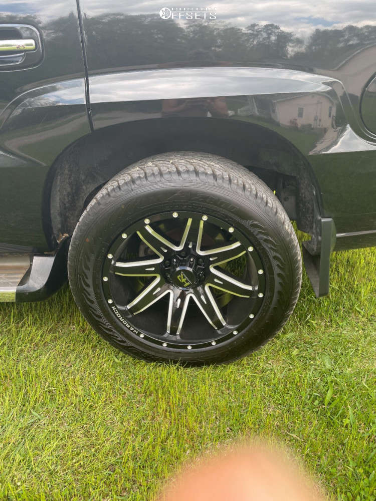 """2006 Cadillac Escalade Aggressive > 1"""" outside fender on 20x10 -19 offset Hardrock Painkiller Xposed and 275/55 Atturo Az800 on Stock Suspension - Custom Offsets Gallery"""