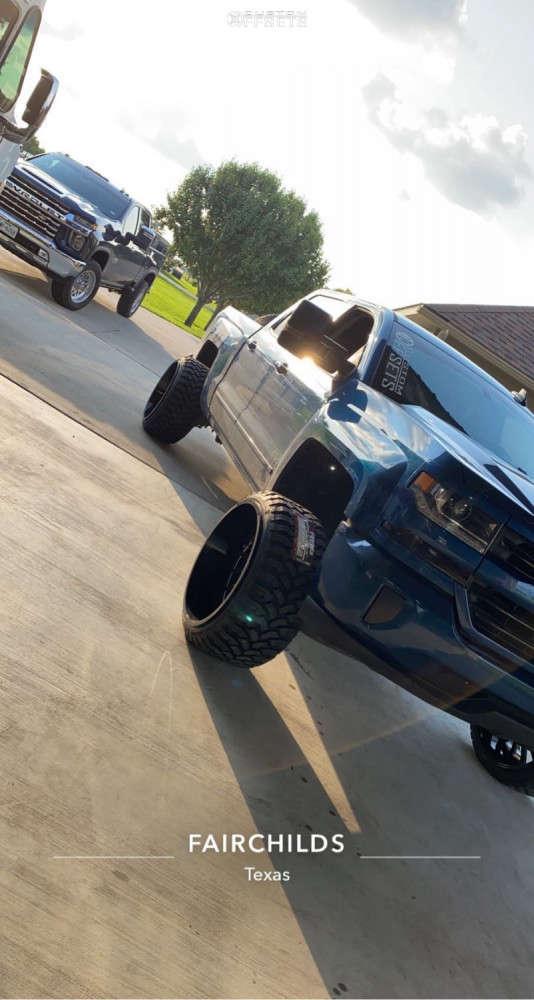 "2017 Chevrolet Silverado 1500 Hella Stance >5"" on 24x14 -81 offset ARKON OFF-ROAD Caesar and 33""x12.5"" Rbp Repulsor Mt on Suspension Lift 5"" - Custom Offsets Gallery"
