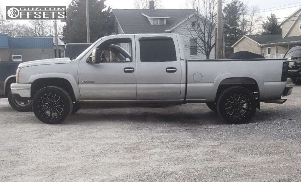 """2007 Chevrolet Silverado 1500 HD Classic Aggressive > 1"""" outside fender on 20x10 -19 offset Gear Off-Road Big Block & 285/55 Toyo Tires Open Country A/t Ii on Stock Suspension - Custom Offsets Gallery"""