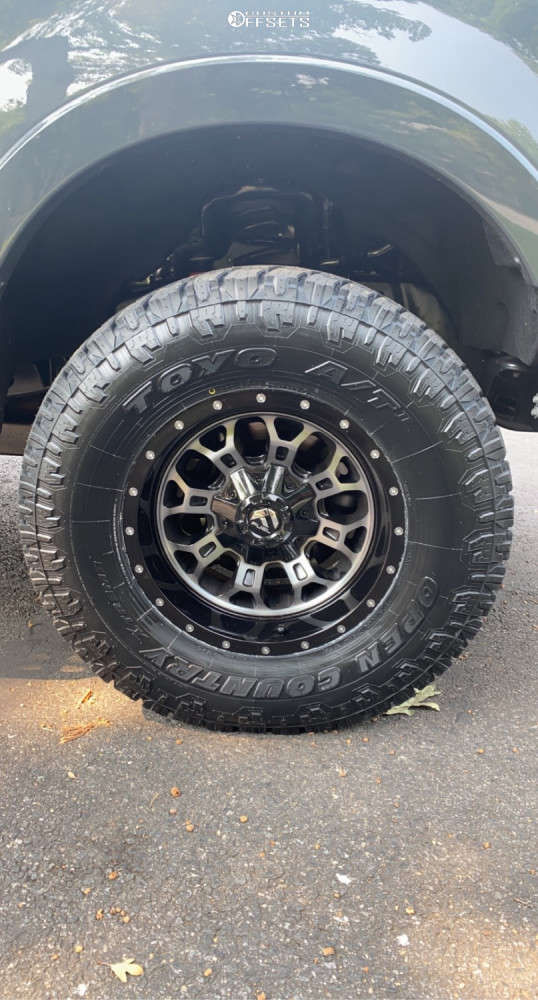 """2021 Ford F-250 Super Duty Slightly Aggressive on 18x9 1 offset Fuel Crush and 35""""x12.5"""" Toyo Tires Open Country A/t Ii on Stock - Custom Offsets Gallery"""