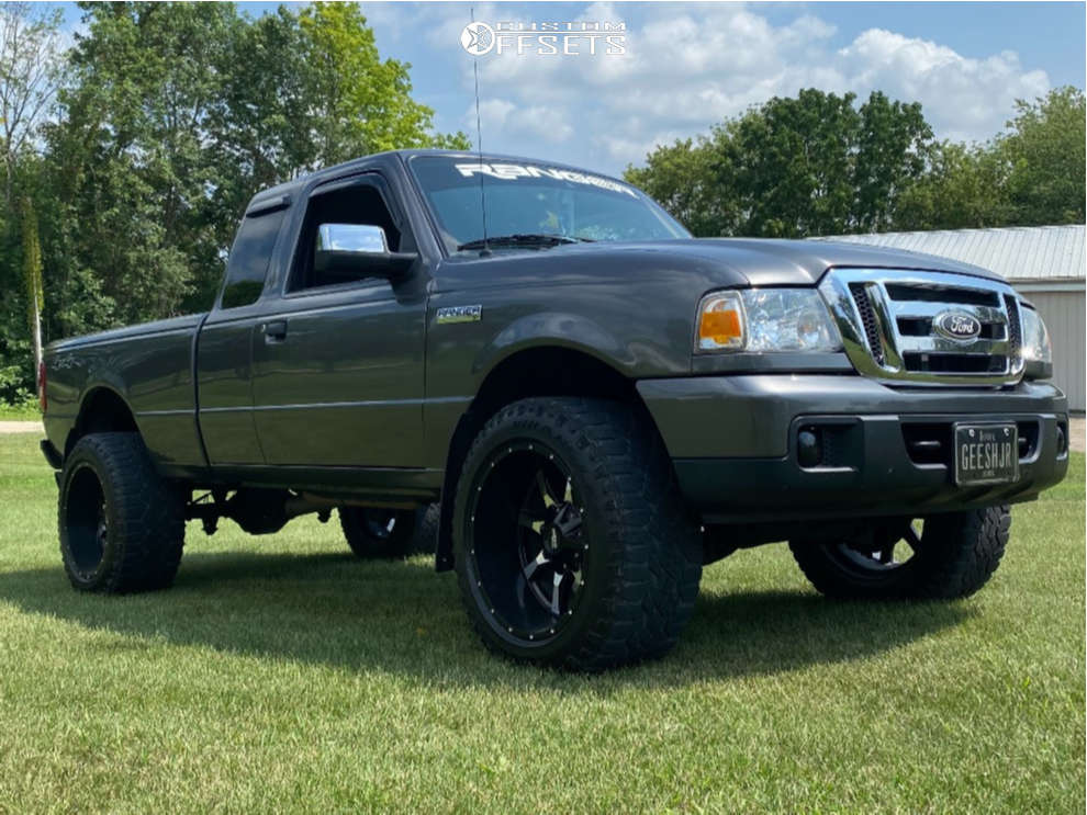 """2006 Ford Ranger Aggressive > 1"""" outside fender on 20x12 -44 offset Moto Metal Mo970 & 33""""x12.5"""" Goodyear All Terrain on Body Lift 3"""" - Custom Offsets Gallery"""