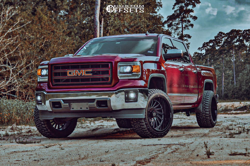 """2014 GMC Sierra 1500 Super Aggressive 3""""-5"""" on 22x12 -51 offset ARKON OFF-ROAD Caesar & 33""""x12.5"""" Fury Country Hunter Mt on Leveling Kit - Custom Offsets Gallery"""