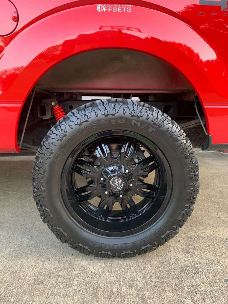"""2010 Ford F-150 Aggressive > 1"""" outside fender on 20x9 0 offset Panther Offroad 580 & 33""""x12.5"""" Milestar Patagonia Mt on Suspension Lift 3"""" - Custom Offsets Gallery"""