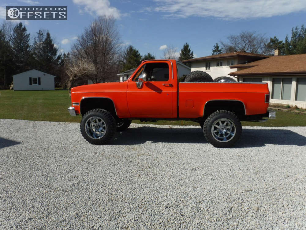"""1983 Chevrolet K10 Super Aggressive 3""""-5"""" on 20x14 -76 offset Fuel 536 and 35""""x13.5"""" Rolling Big Power Repulsor M/t on Suspension Lift 6"""" - Custom Offsets Gallery"""