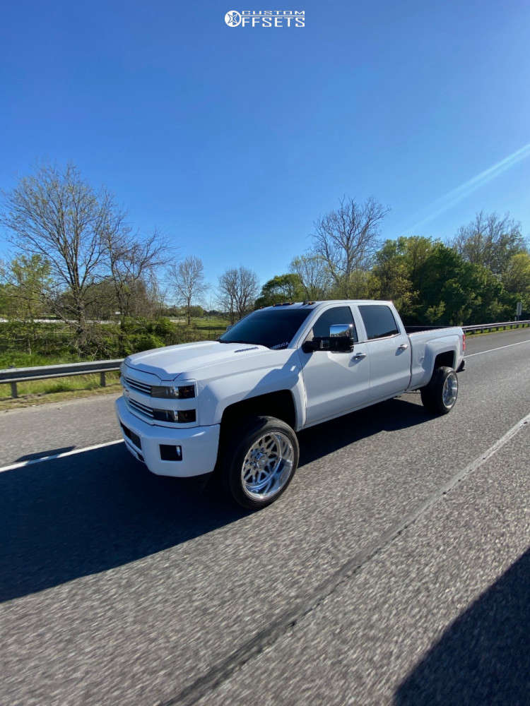 """2015 Chevrolet Silverado 2500 HD Aggressive > 1"""" outside fender on 22x12 -40 offset American Force Evo Ss & 305/45 Nitto Nt420v on Stock Suspension - Custom Offsets Gallery"""