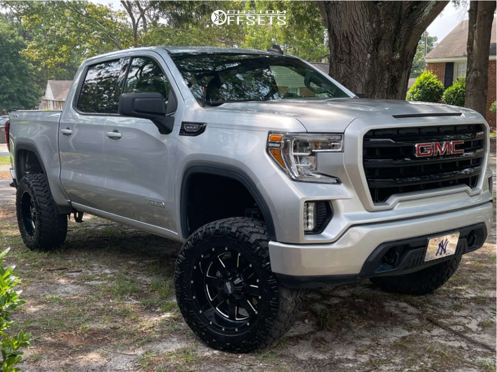 """2020 GMC Sierra 1500 Aggressive > 1"""" outside fender on 20x12 -44 offset Moto Metal Mo962 & 35""""x12.5"""" Nitto Trail Grappler on Suspension Lift 6"""" - Custom Offsets Gallery"""