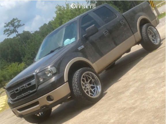 """2007 Ford F-150 Aggressive > 1"""" outside fender on 22x12 -44 offset Axe Offroad Nemesis & 33""""x12.5"""" Venom Terra Hunter X/t on Stock Suspension - Custom Offsets Gallery"""