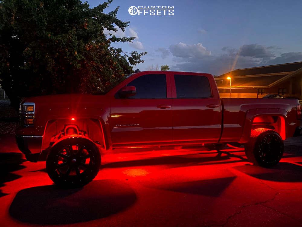"2014 Chevrolet Silverado 1500 Aggressive > 1"" outside fender on 22x12 -45 offset Ballistic Yukon & 33""x14"" Big O Big Foot on Suspension Lift 6"" - Custom Offsets Gallery"
